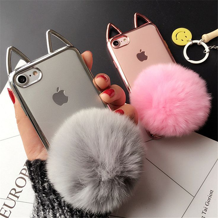 Cute 3D Cat Ear Plating Cover For iPhone 7 Case Fluffy Ball Holder Soft TPU Clear 7plus 6 6s plus Phone Cases Capa Fundas Coque