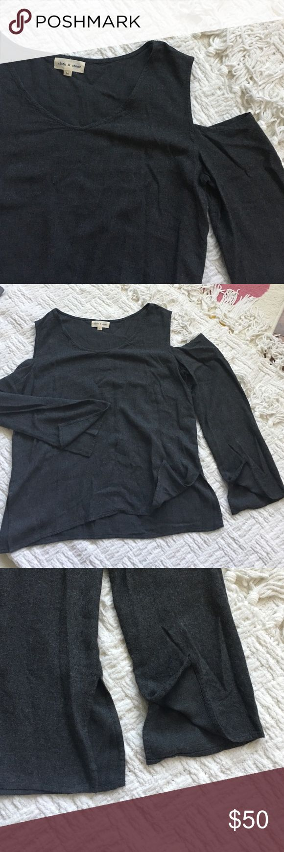 Cloth and Stone Gray Cold Shoulder Top Great long sleeve top with small slits on sleeves and on the shirt. New but has store wear. Offers welcome through offer tab. No trades. Means to be a relaxed fit. 10113171151 Anthropologie Tops Tees - Long Sleeve