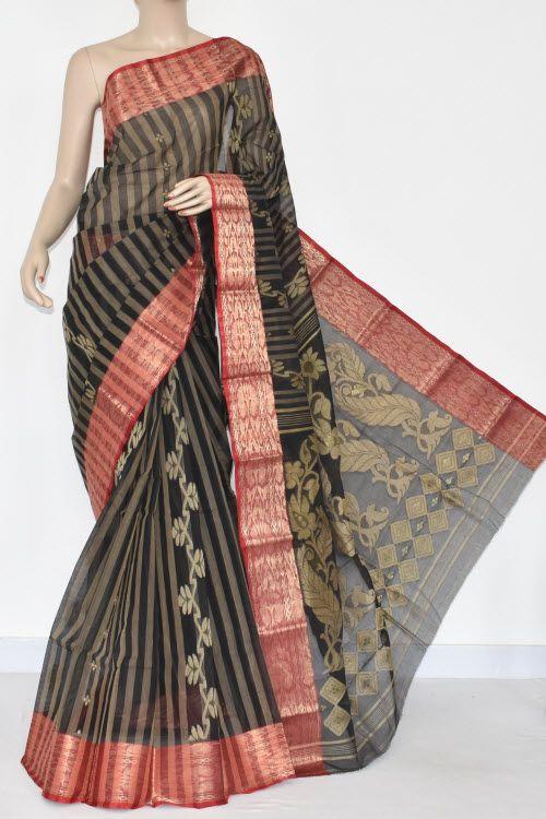 Black Handwoven Bengal Tant Cotton Saree (Without Blouse) Red Zari Border 17360