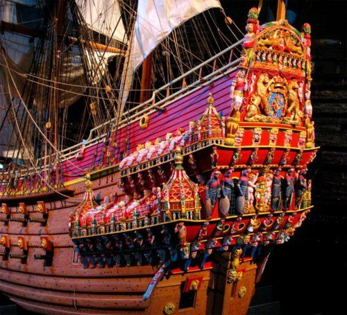 """The Swedish warship Vasa sank on its maiden voyage in 1628 and was salvaged in 1961. Now on display in the Vasa Museum in Stockholm, the stern is painted in what are believed to have been the original colours."""