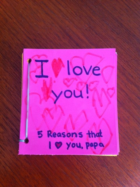 Book with 5 reasons why I love you for Father's Day. Made with sticky foam sheets so it will last!