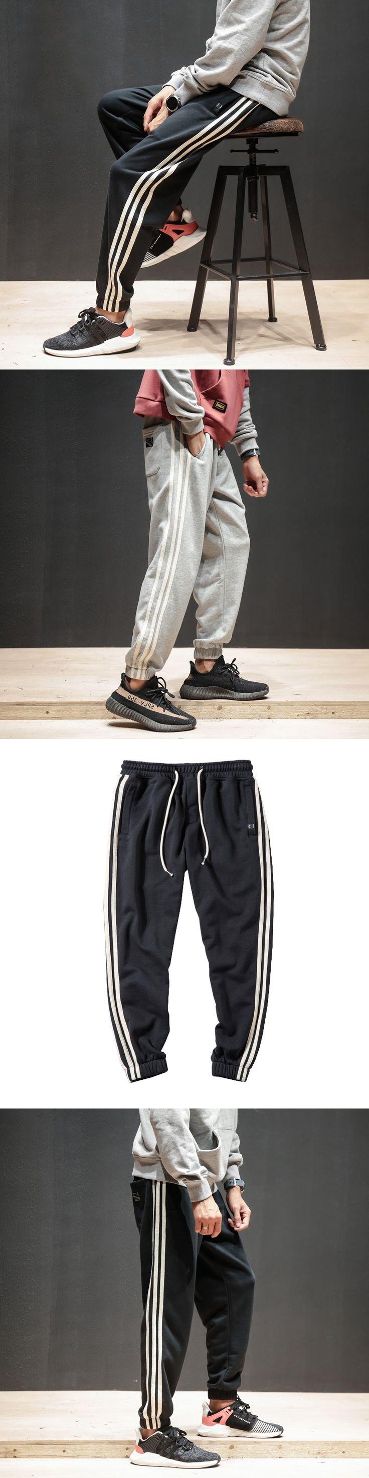 2017 New Casual Slacks Mens Joggers Strip Side Sportwear Mens Pants Highstreet Loose Trousers Pants For Men Plus Size M-5XL