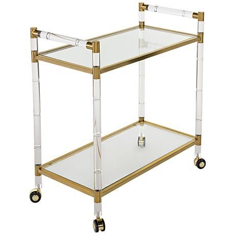 Duval Rectangular Glass 2 Shelf Bronze Brass Bar Cart