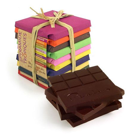"""Pyramide des Tropiques"" , 10 chocolate bars with Cacao coming from different African countries"