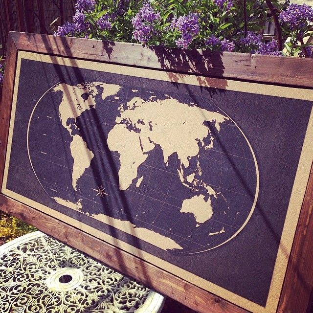 Artistically designed World Map silk-screen printed with water based black inks on to raw sustainable cork, framed with a hand made rustic wooden frame with Mahogany stained finish.   Would suit a home or office. Available on Etsy or BigCartel.  Hand made, silk-screen printed World Map Pin boards on raw cork boards, with rustic wooden frames. #pinboard #worldmap #travel