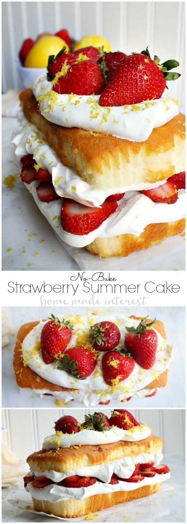 This light and fluffy no bake cake recipe is filled with the flavors of summer. A three layer pound cake stuffed with fluffy whipped topping, sweet strawberries, and topped with a sprinkle of lemon zest. This no bake strawberry shortcake is great for part