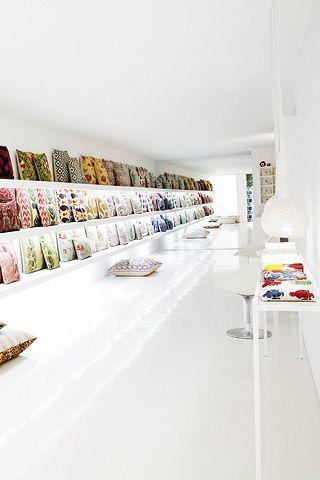 Rifat Ozbek 'Yastik' store in W8  Cushion heaven...where to start?
