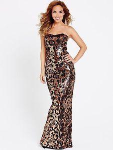 Myleene Klass Animal Print Christmas Party Sequin Maxi Dress    UK 14  RRP £200
