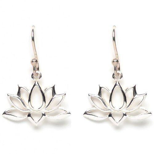 Open Design Lotus Blossom Flower Dangle Earrings in Sterling Silver,