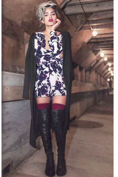 Sexy outfit!  Mini dress with a long cardigan and over the knee boots. Women's fall street style fashion for dates, going out