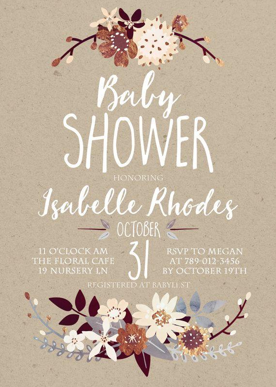 Fall Baby Shower Invitation Printable Autumn by INVITEDbyAudriana