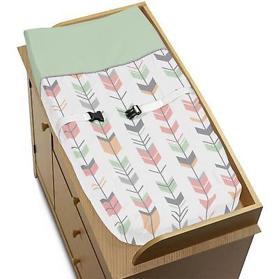 Changing Pads and Covers 66674: Diaper Changing Table Pad Cover Coral Gray Woodland Arrow Baby Girld Bedding Set -> BUY IT NOW ONLY: $30.99 on eBay!
