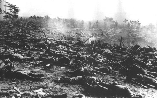 Japanese and US american soldiers dead after banzai charge, Edson Ridge, Guadalcanal.