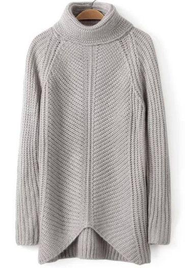 Grey High Neck Long Sleeve Knit Sweater - abaday.com