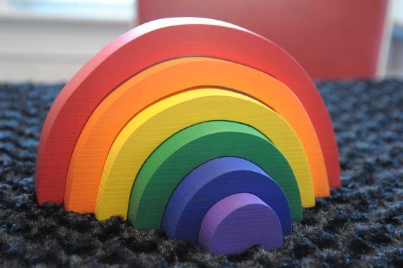 Wooden Rainbow Stacker Puzzle- Building and Stacking Toy ...