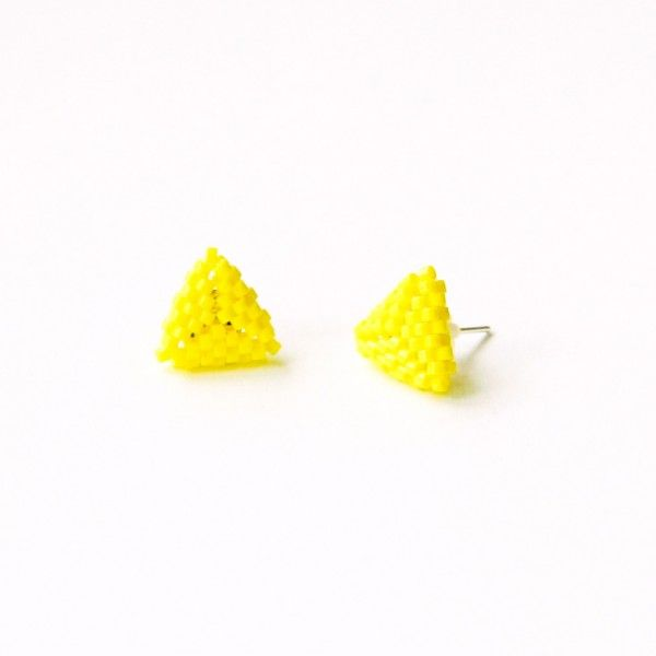 Neon yellow beaded triangle stud earrings