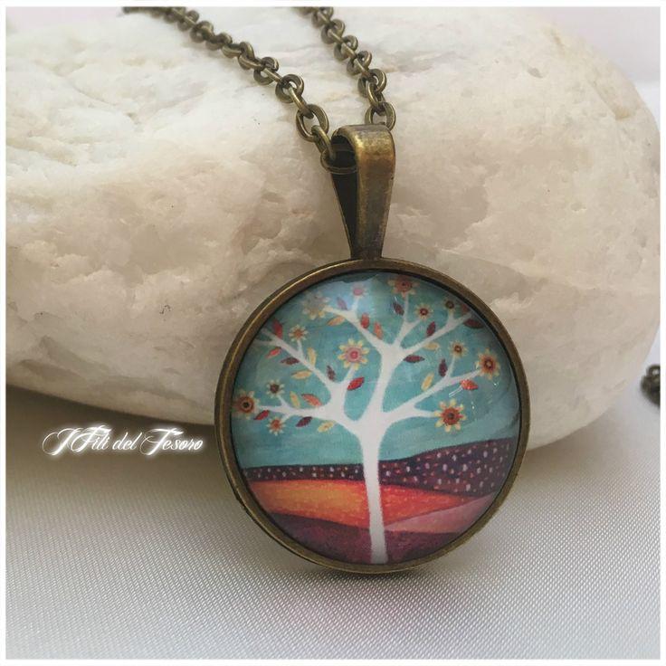 Collana lunga bronzo albero della vita, medaglione albero della vita in vetro,ciondolo in bronzo albero della vita,regalo per damigella di IFilidelTesoro su Etsy