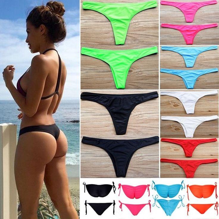 Women HOT Brazilian Cheeky Bikini Bottom Thong Bathing Beach Swimsuit Swimwear #Unbrand #BikiniBottom