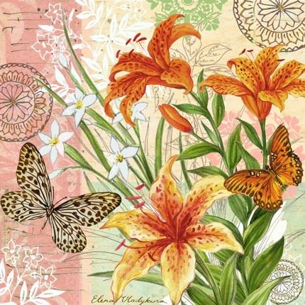 flower-collage-tiger-lillies-and-butterflies