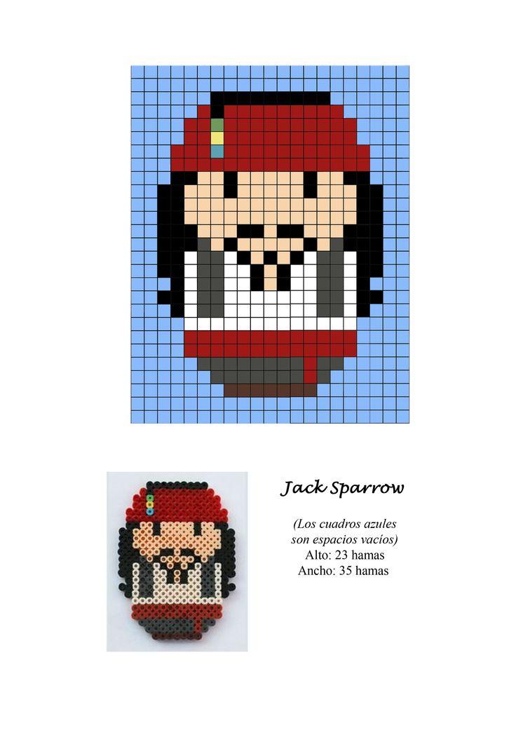 Jack Sparrow Piratas Caribe Pirates Caribbean hama beads pattern