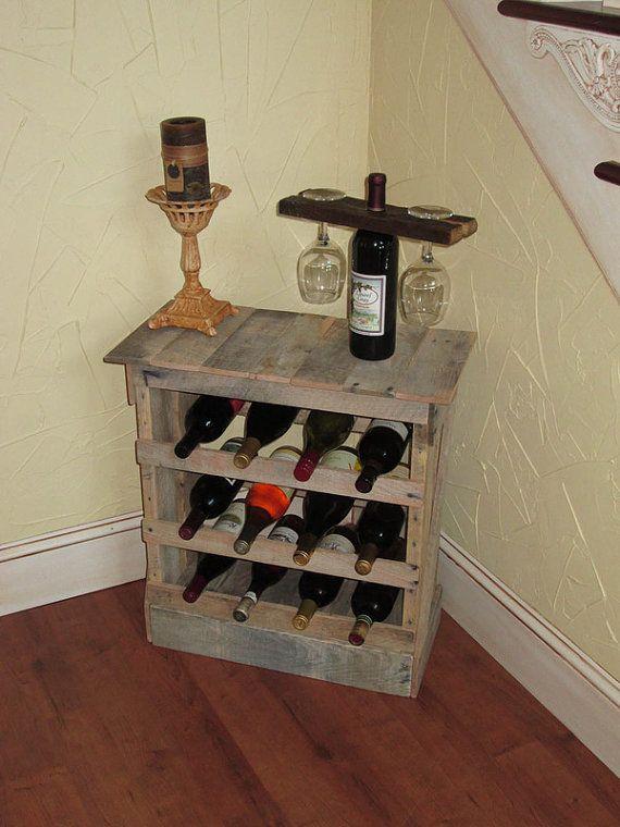 Pallet Wood 12 bottle Wine Rack Floor or Counter Top Rustic Reclaimed Wine Stave, Wine Storage, Bottle Storage, Wine Decor