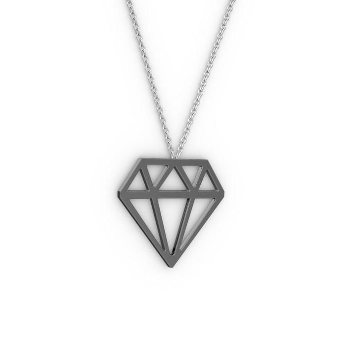 Arin Pırlanta Kolye - 925 ayar siyah rodyum kaplama gümüş kolye (40 cm gümüş rolo zincir) | Mortaki.com