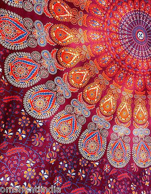 Maroon Hippie Mandala Tapestry wall hanging boho bohemian twin bedding throw bed