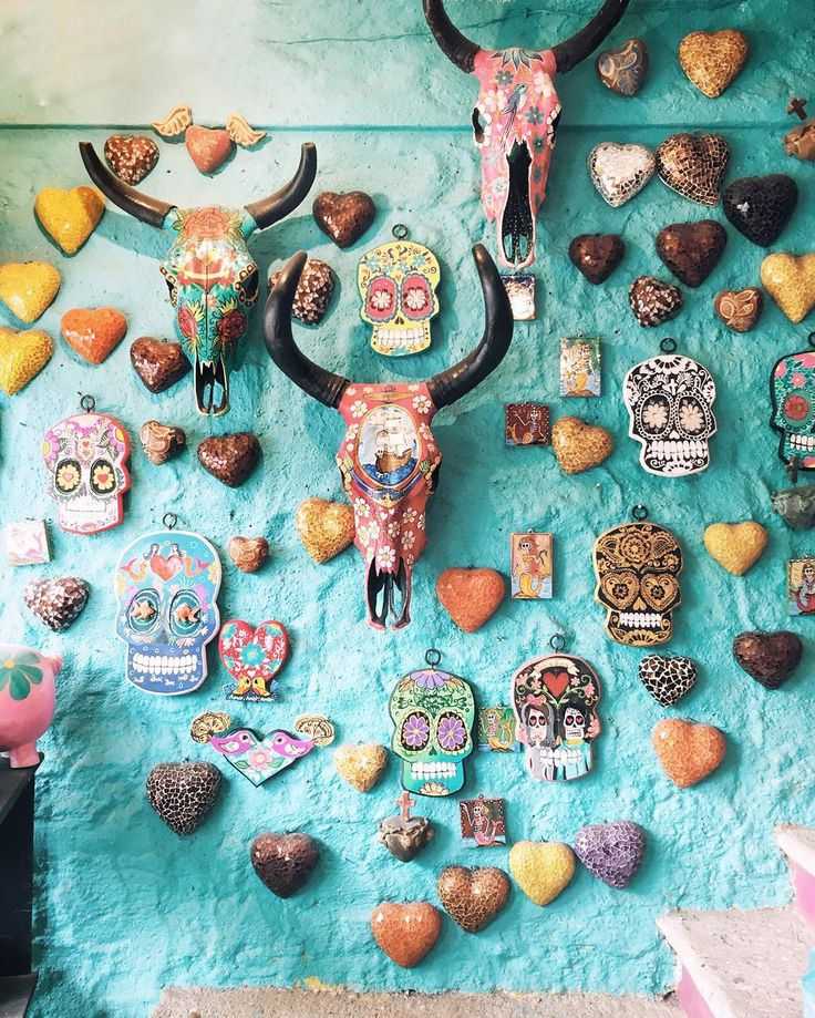 Sayulita, Mexico souvenirs: colorful skulls and antlers