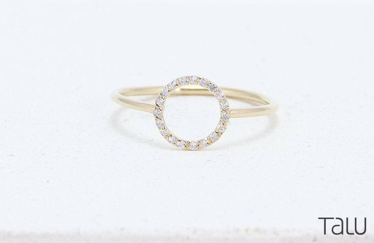 Circle Diamond Ring, Gold Diamond Ring, Engagement Ring, Gift For Her, Geometrical Design, Delicate Jewelry, 14k Solid Gold, Diamond Ring by TALUrockngold on Etsy https://www.etsy.com/listing/510302128/circle-diamond-ring-gold-diamond-ring