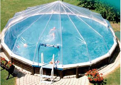Above ground pool cover. Would be so cool in the rain! No cleaning the pool every time you want to swim! No drown danger if you can lock the opening! No way!