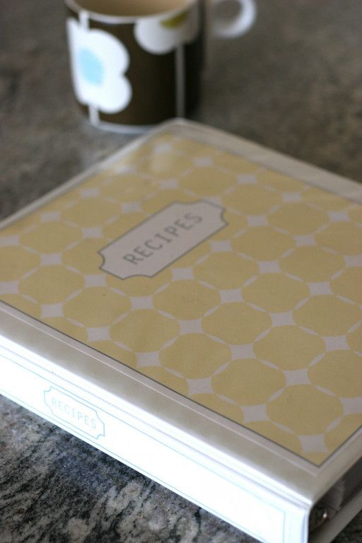 Recipe Binder...I'm really loving binder organization lately.  A great tip I came across on this post also, when using sheet protectors with dividers, the dividers usually aren't wide enough.  She put the dividers in protectors as well, and cut slits to accomodate the tab
