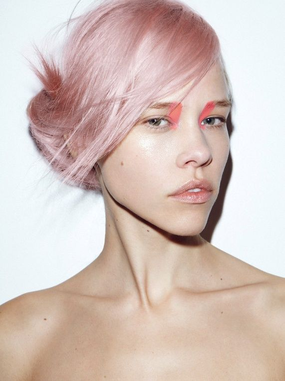 light pink highlights | Girl with Light Pink Hair and Pink Face Paint