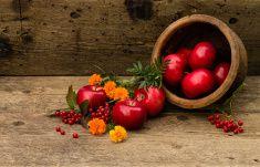 Керамический чайник и яблоки хаотично расположенные на деревянном фоне stock photo