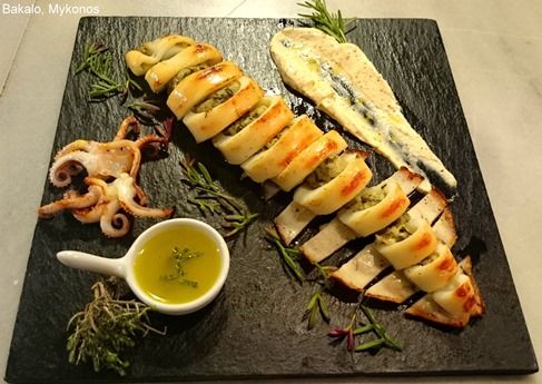 Grilled Stuffed Squid by Chef Yiannis Gavalas of Bakalo Eatery in Mykonos