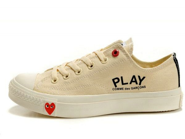 Converse All Star Unisex Beige CdG logo prints Low Top Canvas Shoes_1132 on sale,for Cheap,wholesale from China