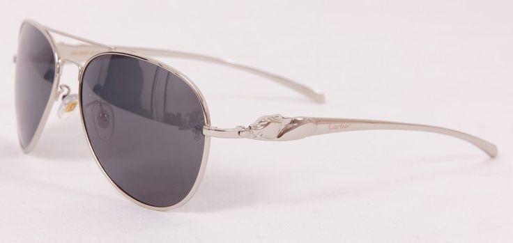 Солнцезащитные очки Cartier (Картье) в металлической оправе серебристого цвета, в фирменной упаковке, с поляризованными стеклами (защита от бликов и УФ излучения)