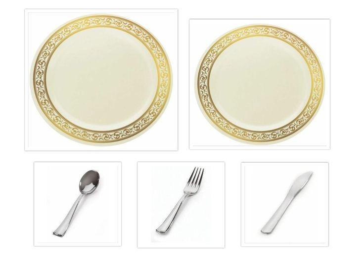 decorline chinalike creamgold plastic plates w cutlery wedding reception