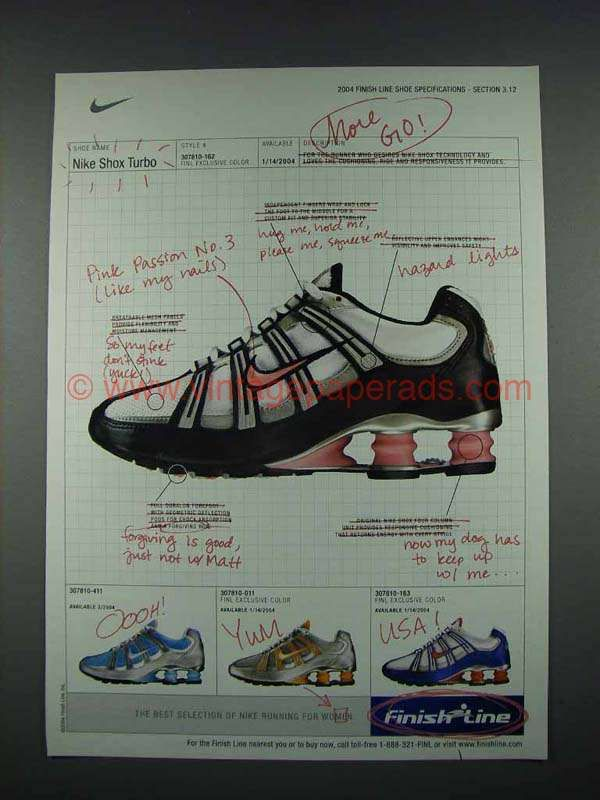 90345142fde1 2004 Finish Line Nike Shox Turbo Shoe Sneaker Ad - More Go