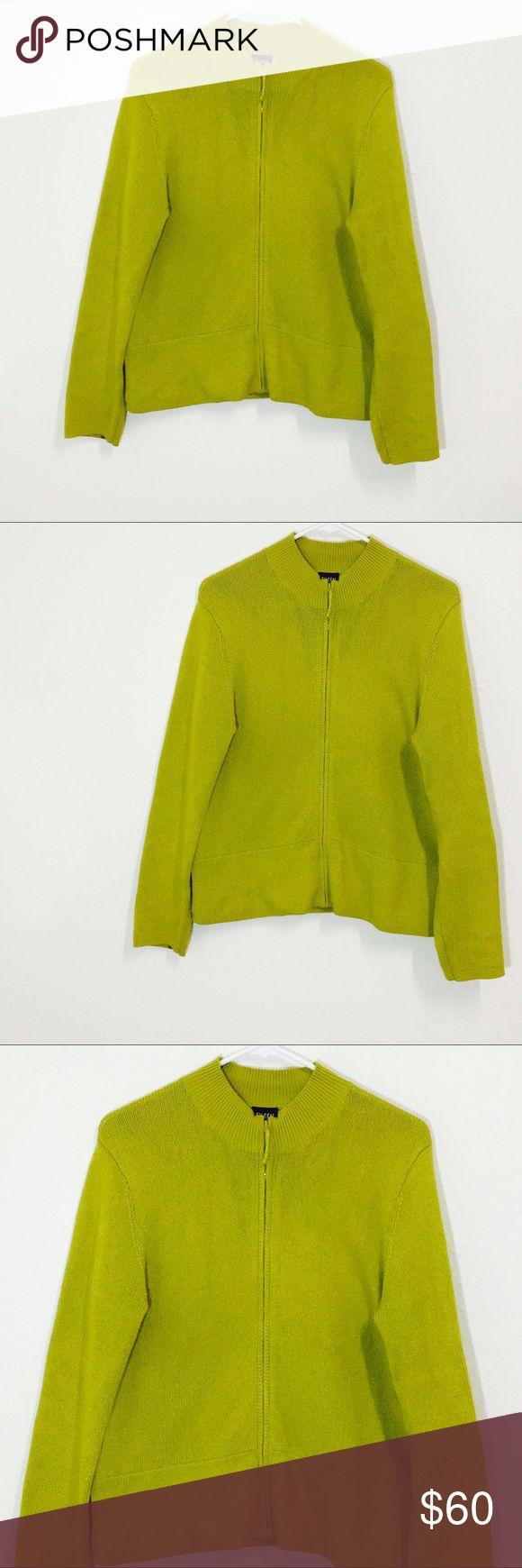 Eileen Fisher Bright Green Zip Up Knit Sweater! Size medium! Made of Italian yarn! Eileen Fisher Sweaters
