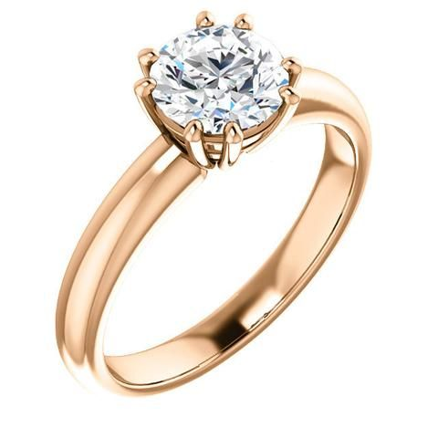 1.0 Ct Round Ring 14k Rose Gold