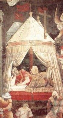 """Agnolo GADDI, Peintre florentin (actif 1369-96 à Florence)  in Fresque """"Triomphe de la vraie Croix"""" (detail)  Années 1380, Santa Croce, Florence"""