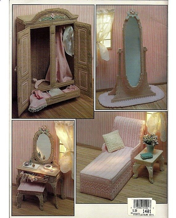 Barbie Furniture The Boudoir In Plastic Canvas Fashion Doll Playhouse Book 3 Via Etsy