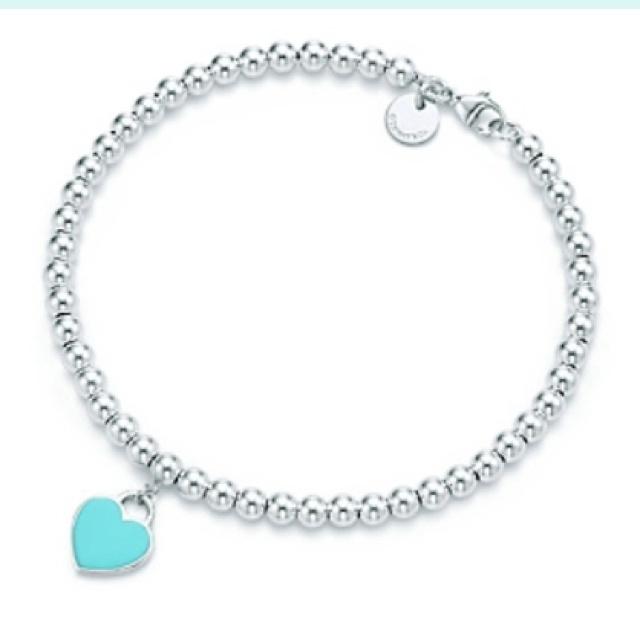 Tiffany & Co. | Return to Tiffany bead bracelet w/teal enamel heart charm