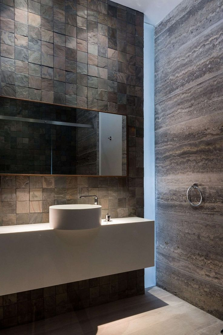 Bathroom from a Luxurious Three-Level Home Exhibiting a Complex Modern Architecture: Amwaj Villa