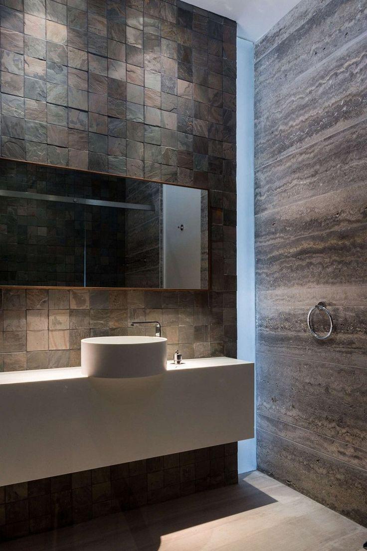 Bathroom from a Luxurious Three-Level Home Exhibiting a Complex Modern Architecture: Amwaj Villa