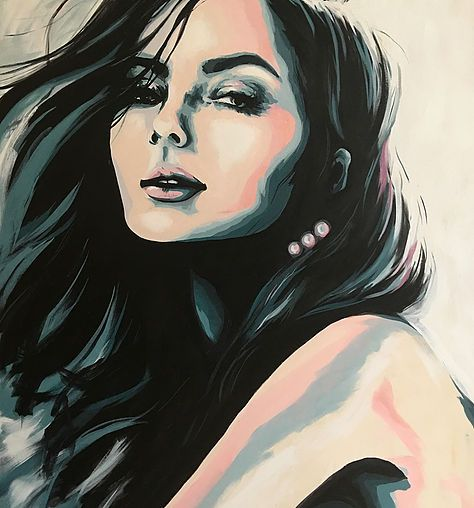 Beautiful acrylic on canvas portrait painting by multimedia artist,  Valerie Carpender.   See more contemporary artwork and jewelry at www.valcarpender.com.