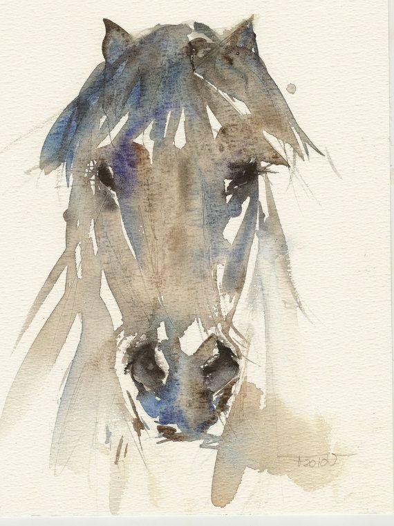 Pony, Horse, Original watercolor, Unique Aquarel
