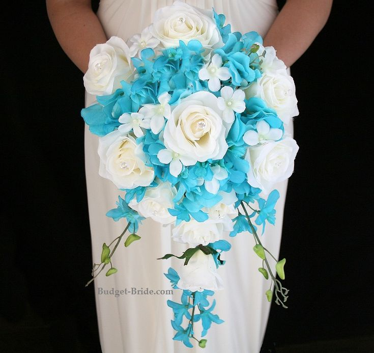 Turquoise Cascading Bouquet with malibu hydrangea, white roses and stephanotis and orchids