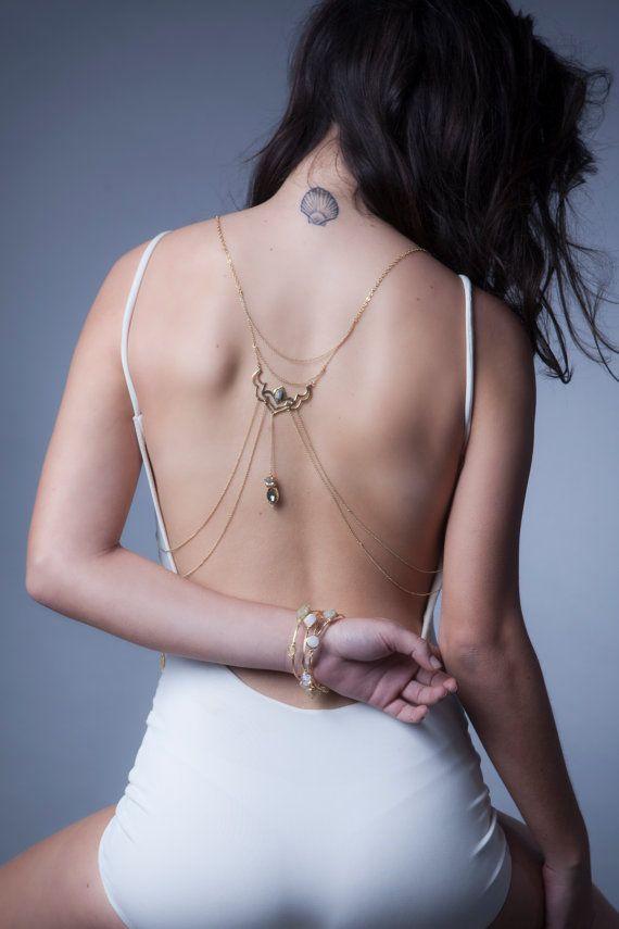 Fiorella cuerpo cuerpo nupcial cadena joyería Bohemia arnés-Lotus cadena collar playa chaleco de boda gitana-moda collar de tendencia-espalda-Boho chic