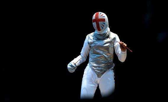 Natalia Sheppard of Great Britain in the Women's Foil Individual Round of 64 match on day one of the London 2012 Olympic Games.